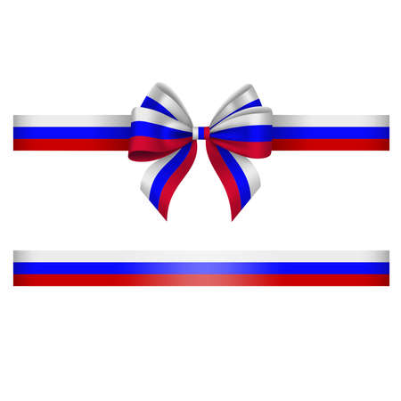 Tricolor bow and ribbon. white, blue and red bow with ribbon. russian flag colors Vektorgrafik