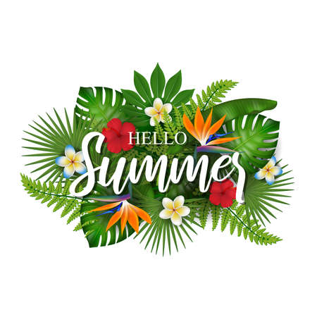 Hello summer background with tropical flowers and leaves Banco de Imagens