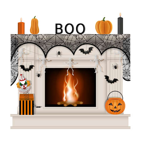 White fireplace with halloween decorations