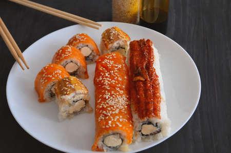 Sushi. Philadelphia classic. Salmon, Philadelphia Cheese. Rolls with eel and soy sauce. Stok Fotoğraf