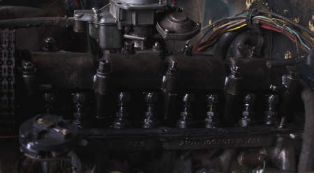 Engine machine. Car repair and its components. Car engine in disassembled condition. Top view and side view. Stock Photo