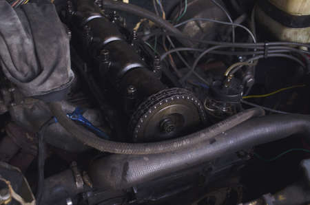 Engine machine. Car repair and its components. Car engine in disassembled condition. Top view and side view. Stok Fotoğraf