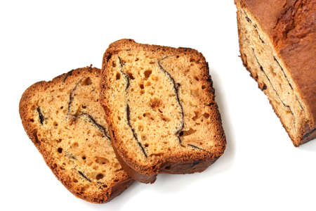 Slices of homemade cake isolated on white background