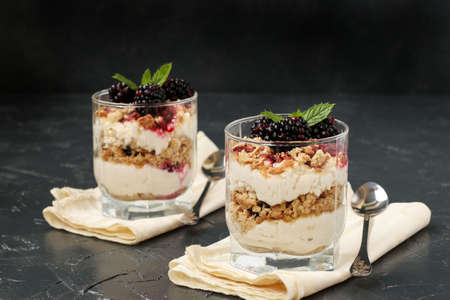 Curd dessert with blackberries and cookies in glass on a dark background Imagens - 122192301