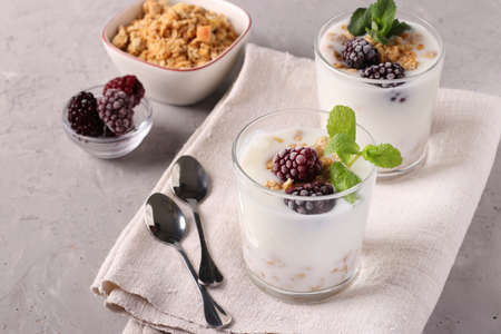 Two servings of homemade natural yogurt with granola, blackberries and mint in glasses on a gray background, Diet and weight loss control concept, Space for text