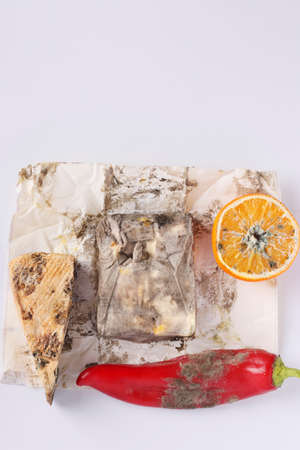 Spoiled rotten foods with mold: orange, pepper, hard cheese and butter on white background, Top view, Vertical format 版權商用圖片