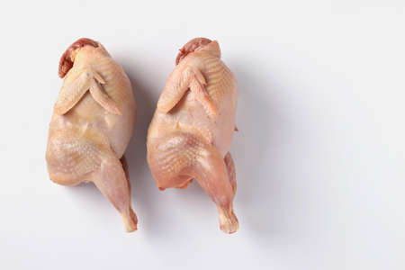 Two fresh organic quails isolated on white background, Horizontal format, Copy space