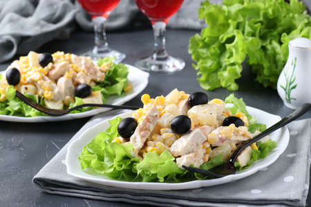 Two plates with salad pineapple, baked chicken, corn and black olives and two glasses of red wine, Closeup Reklamní fotografie