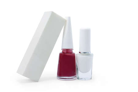 sanding block for nail and nails polish on a white background isolated