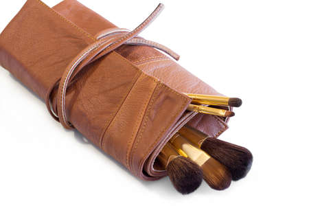rufous: Makeup Brushes in a rufous leather cover Stock Photo