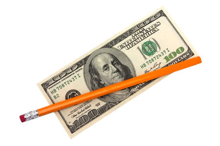 one hundred dollars: one hundred dollars and pencil on a white background isolated Stock Photo