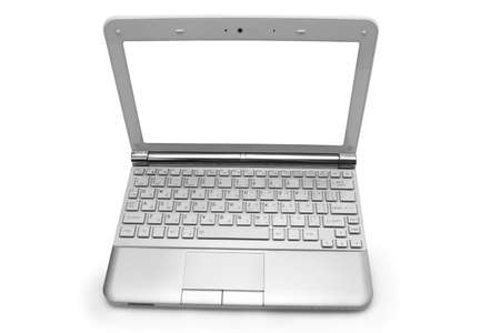 netbooks: netbook with white monitor on a white background isolated