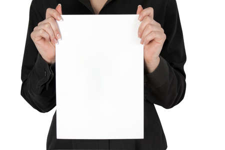 women's hand: card blank in a womens hand
