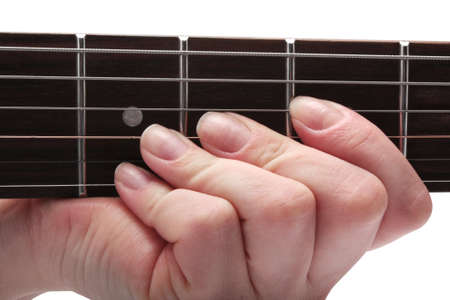 hand jamming: hand playing on guitar on a white background isolated