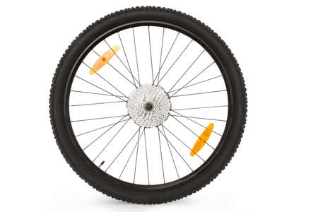black wheel of a mountain bike isolated on white background isolated Stock Photo