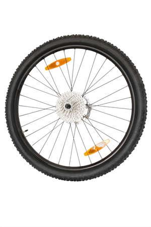 spoke: isolated black wheel of a mountain bike isolated on white background