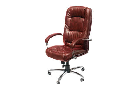 upholstered: artificial leather upholstered office chair of claret color with trundles on a white background