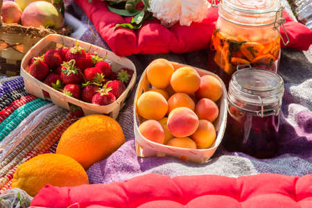 checker: Picnic in the outdoor with strawberry, apricots, oranges, apples and different cold beverages Stock Photo