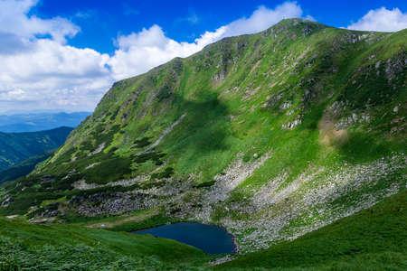 the lake Brebeneskul among Carpathians Mountains Stock Photo