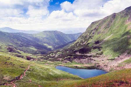 the lake Brebeneskul among Carpathians Mountains