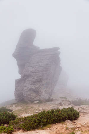 the bizarre shape of the mountain peak in the Carpathians