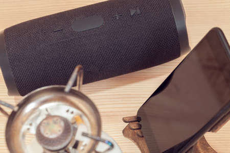 camping set with portable speaker and gas burner