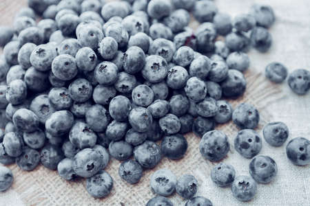 heap of great bilberry on a sackcloth