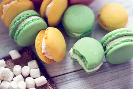 background from colorful macaroons and marshmallow
