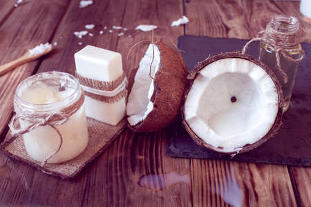 set of coconut products, from oil, milk and soap for hair care and body