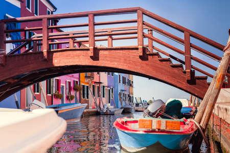 Burano island with colorful houses and bridge