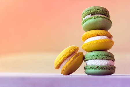 macaroons are laid by a stairs