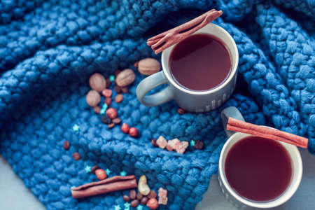 hot chocolate with cinnamon and candied fruit on a background of blue knitted plaid