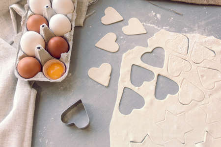 Cut out dough in the shape of heart and stars