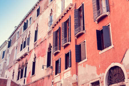 Architecture of the houses on Ponte Novo street in Venice