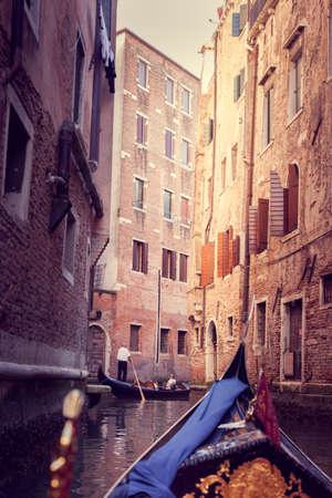 narrow canal in Venice, view from gandola Foto de archivo