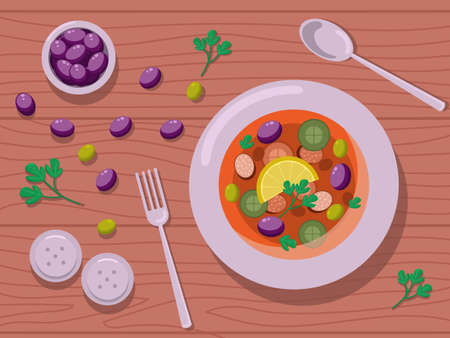 The vector illustration shows a bowl with soup and cutlery. Thers are also salt shakers, olives and dill are also on the table