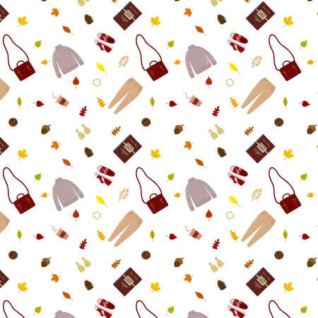 cozy autumn pattern of accessories and leaves Vetores
