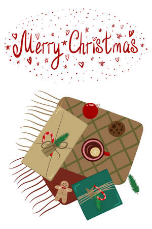 cozy Christmas card with gifts of cookies and tea Stock Illustratie