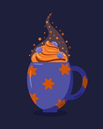 mug with coffee dessert for the holidays Векторная Иллюстрация