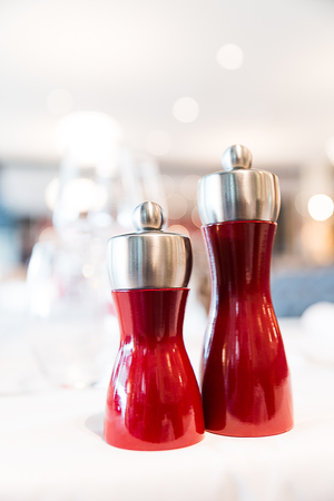 Salt And Pepper Shakers On Table Stock Photos And Images 123rf