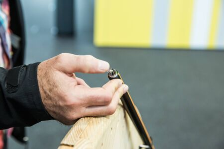 Man Hand Showing Coated Cables Wiring
