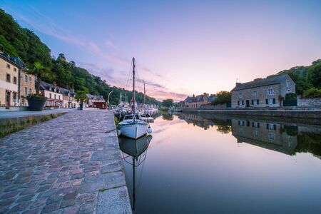 Dinan Stone Houses and Marina Reflecting in Rance River at Dawn in Bretagne, Cotes d'Armor, France