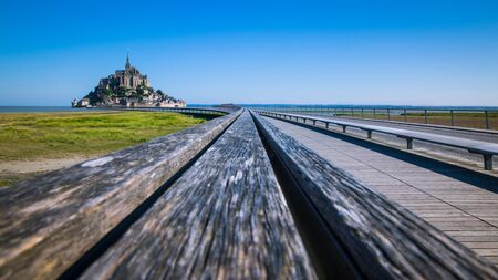 Mont Saint-Michel Road and Bridge on a Sunny Summer Day in Normandy France