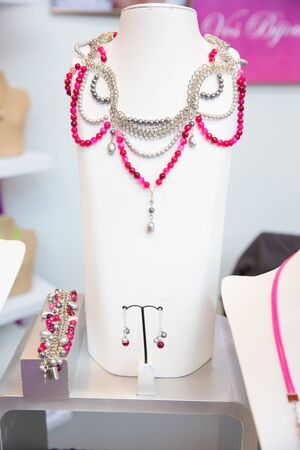 Female Jewelry Set with Semi precious Pink Stones and Pearls on Sale
