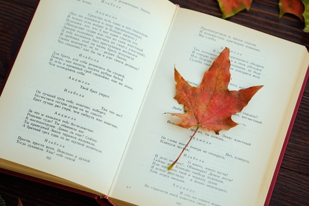 poems: Old book with poems and autumn leaves on the table