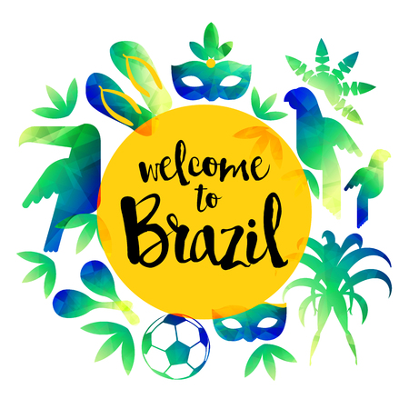 Welcome to Brazil. Icon Set Travel and tourism concept. Brazil background. Vector illustration