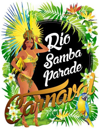 Brazilian samba dancer. A beautiful carnival girl wearing a festival costume is dancing.