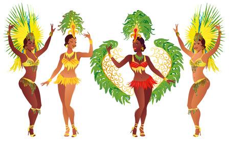 Conjunto de bailarines de samba brasileños. niñas carnaval vector que lleva un traje del festival está bailando. Foto de archivo - 69222208