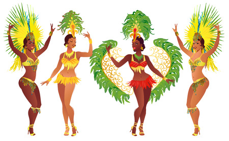 carnival costume: Set of Brazilian samba dancers. Vector carnival girls wearing a festival costume is dancing.