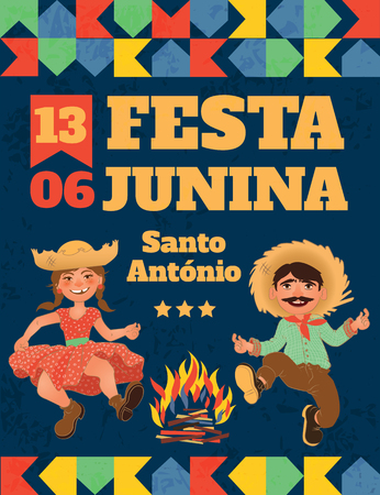 Festa Junina illustration - traditional Brazil June festival party. Vector illustration. 矢量图像
